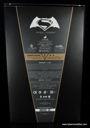 Hot Toys Batman v Superman Batman figure review -package rear