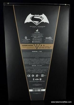 Hot Toys Batman v Superman Batman figure review -package rear