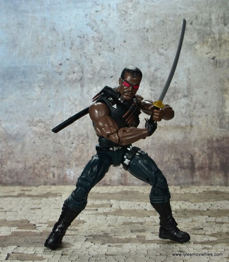 Marvel Legends Blade figure review -holding the sword