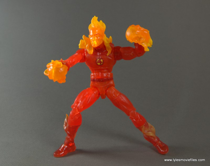 Marvel Legends The Human Torch figure review -aiming fireballs