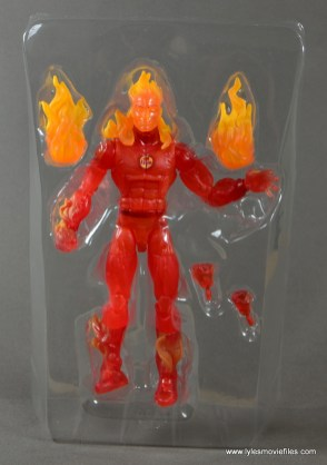 Marvel Legends The Human Torch figure review -figure and accessories in tray