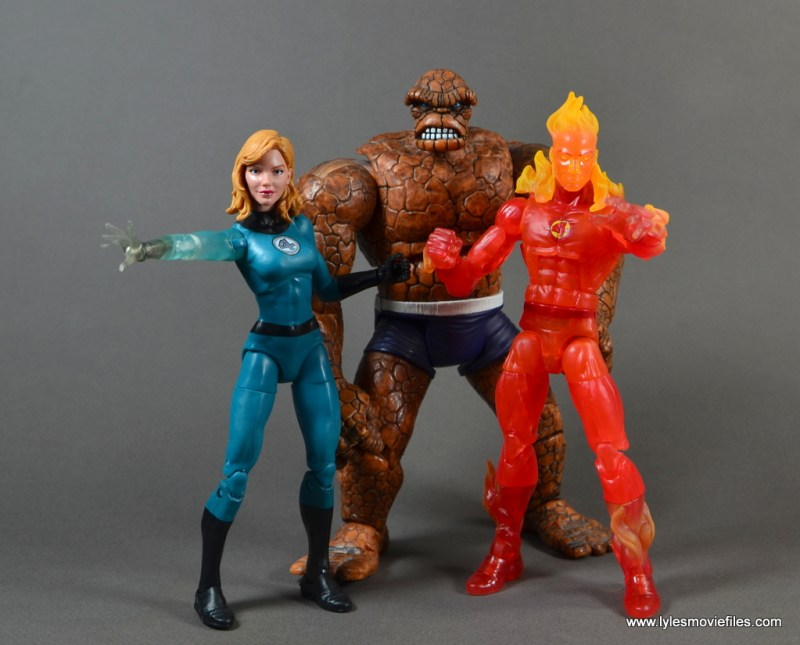 Marvel Legends The Human Torch figure review - with Invisble Woman and The Thing