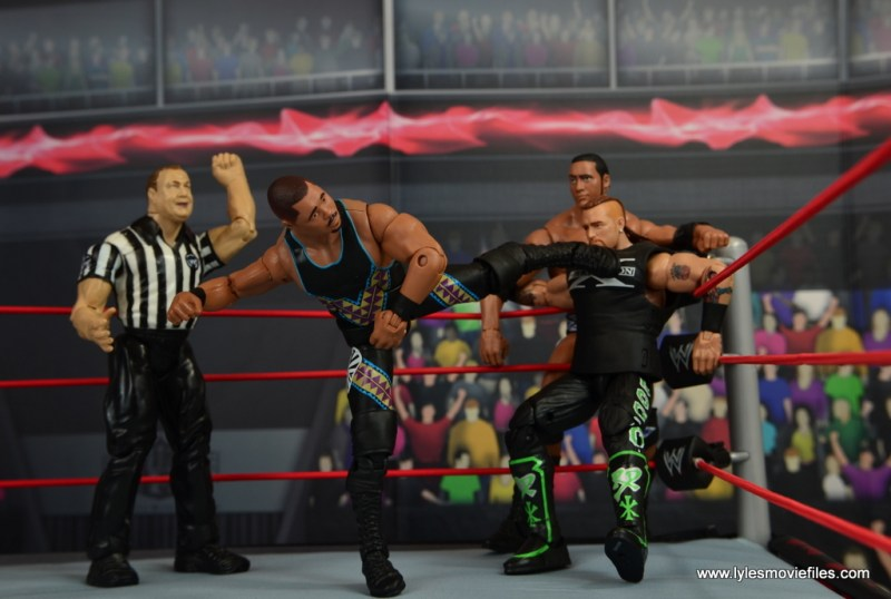 WWE Elite D-Lo Brown figure review - kicking Road Dogg with The Rock