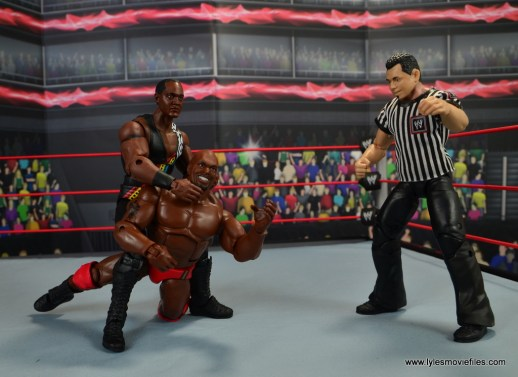 WWE Elite Farooq and The Rock Nation of Domination figure review set - Farooq choking out Ahmed Johnson