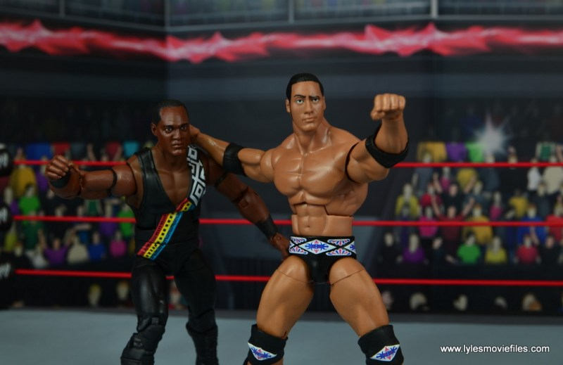 WWE Elite Farooq and The Rock Nation of Domination figure review set - The Rock throwing Farooq into corner