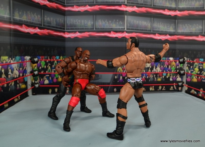 WWE Elite Farooq and The Rock Nation of Domination figure review set - double teaming Ahmed Johnson