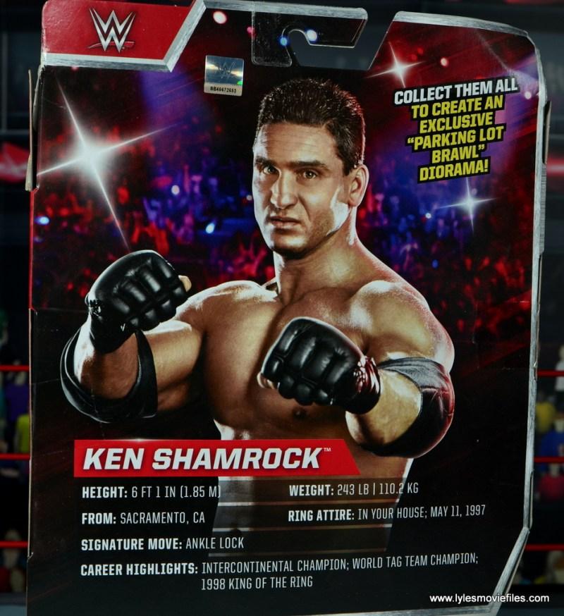 WWE Elite Ken Shamrock figure review -package bio