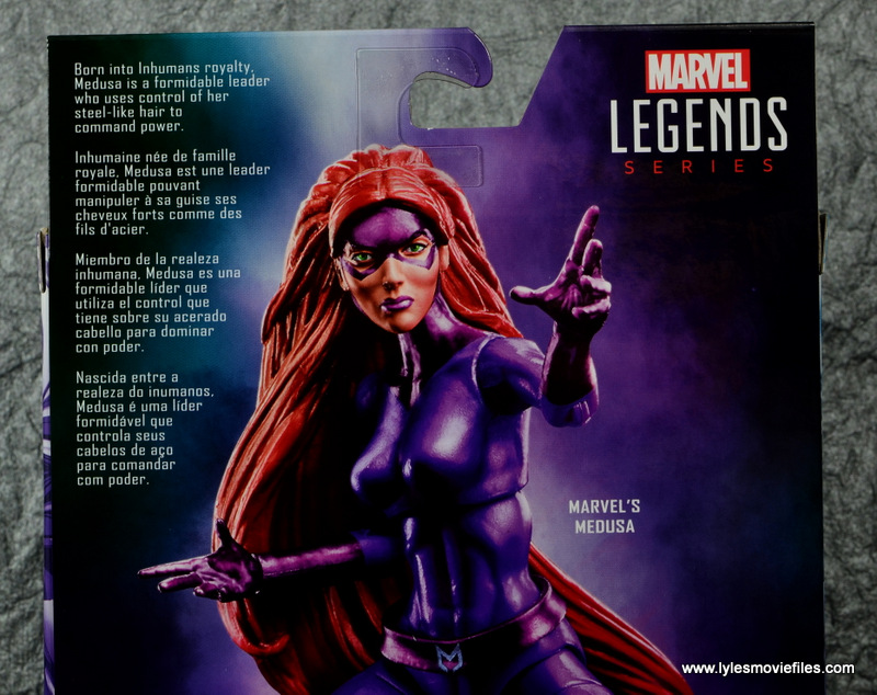 Marvel Legends Medusa figure review -package bio