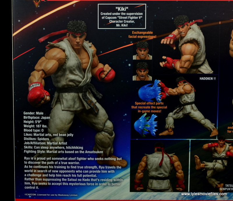 Storm Collectibles Street Fighter V Ryu figure review - package bio