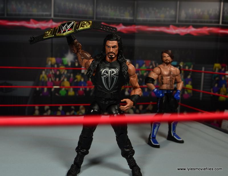 WWE Elite 45 Roman Reigns figure review - raising WWE title