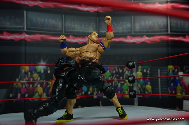 WWE Elite 45 Roman Reigns figure review - spear to John Cena