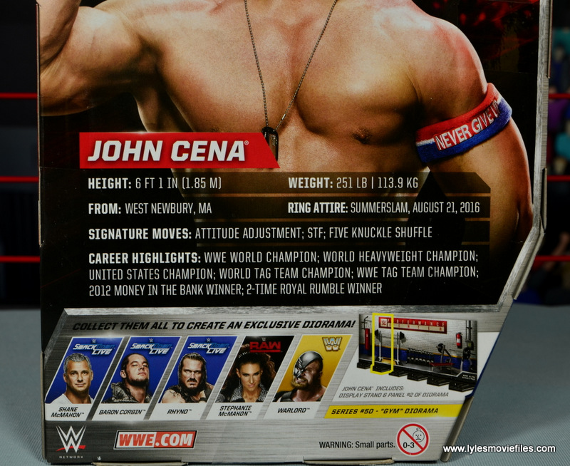 WWE Elite 50 John Cena figure review -package bio