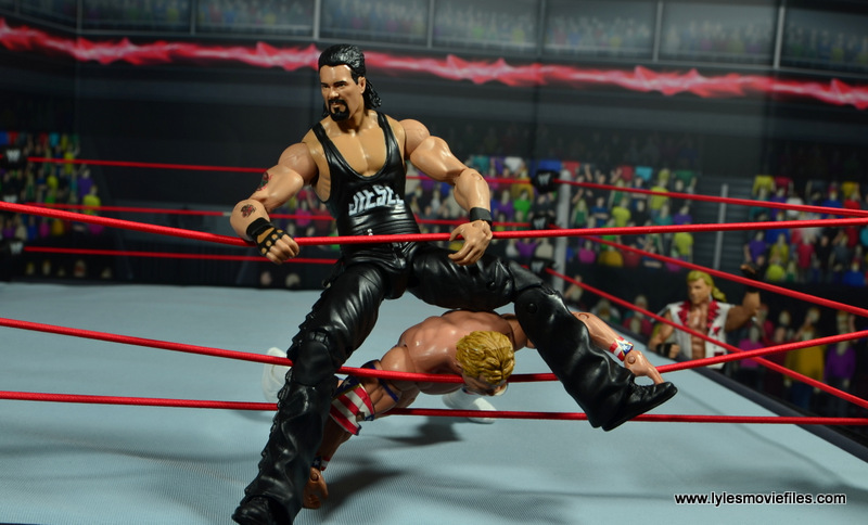 WWE Elite Hall of Fame Diesel figure review -rope splash on Lex Luger