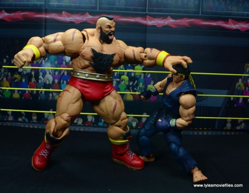 Storm Collectibles Street Fighter V Zangief figure review -grabbing Ryu