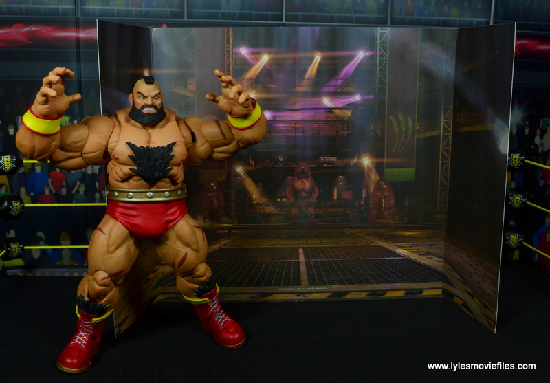 Storm Collectibles Street Fighter V Zangief figure review -with included backdrop