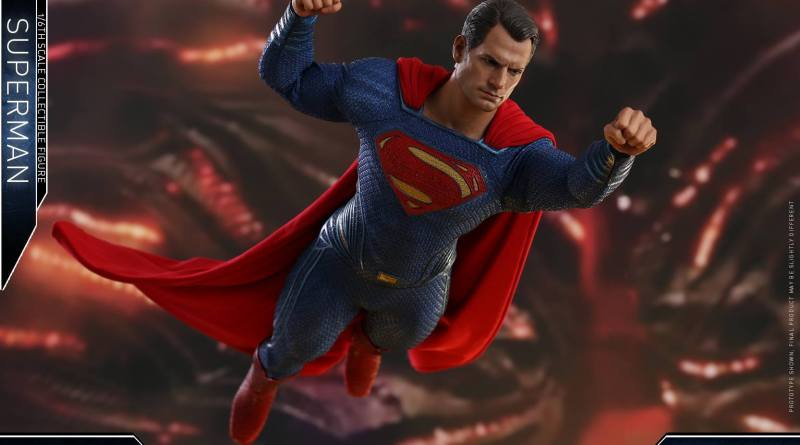 hot toys justice league superman figure review -flying