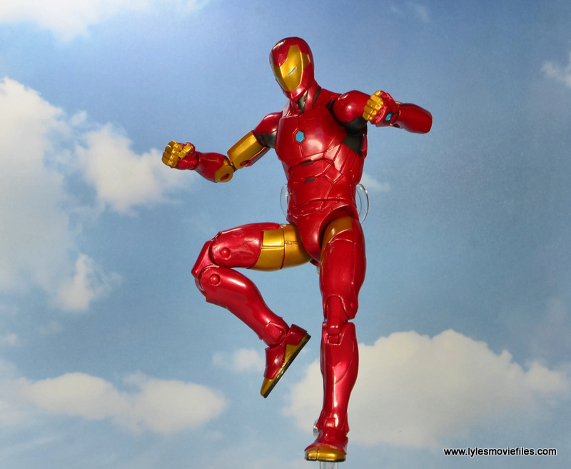marvel legends invincible iron man figure review -flying