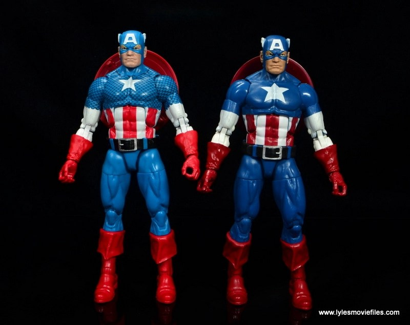 marvel legends retro captain america figure review - comparison with civil war captain america