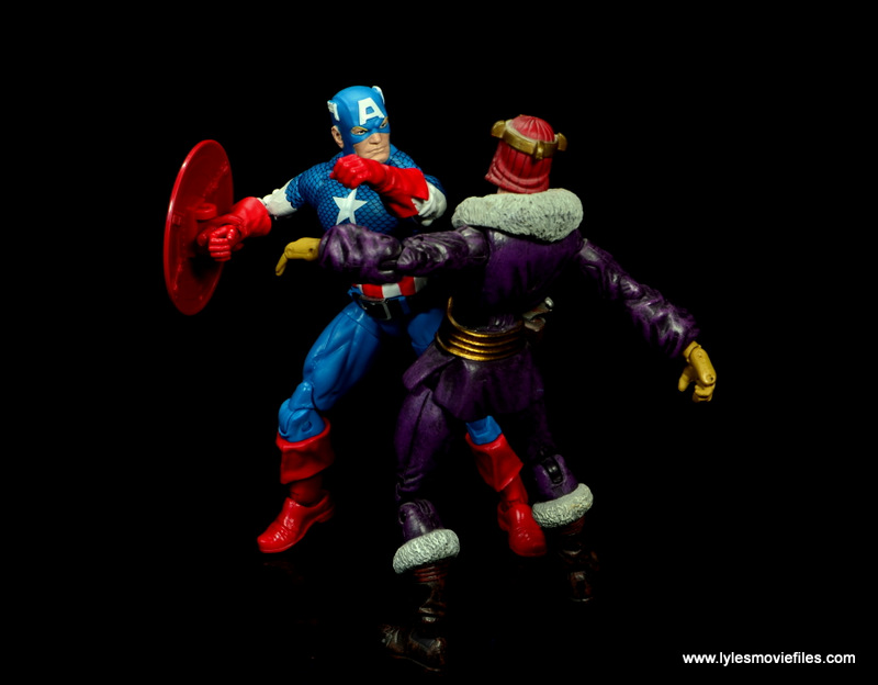 marvel legends retro captain america figure review -punching out baron zemo