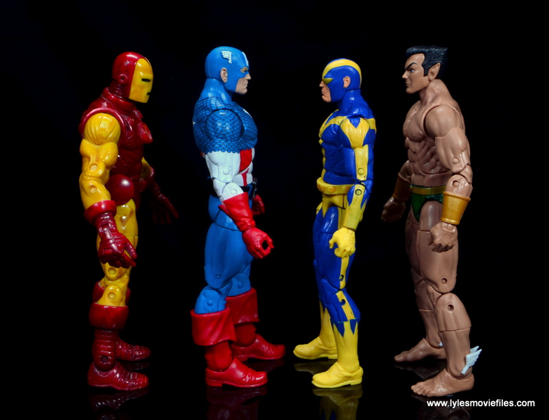 marvel legends retro captain america figure review - scale with iron man, goliath and sub-mariner