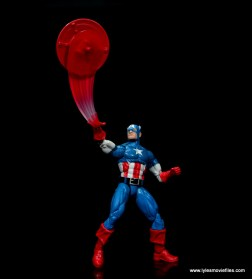 marvel legends retro captain america figure review - throwing shield up