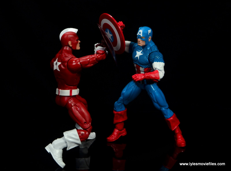 marvel legends retro captain america figure review - vs red guardian