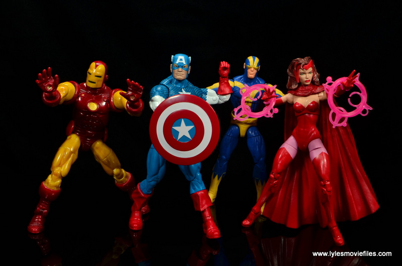 marvel legends retro captain america figure review - with avengers iron man, goliath and scarlet witch