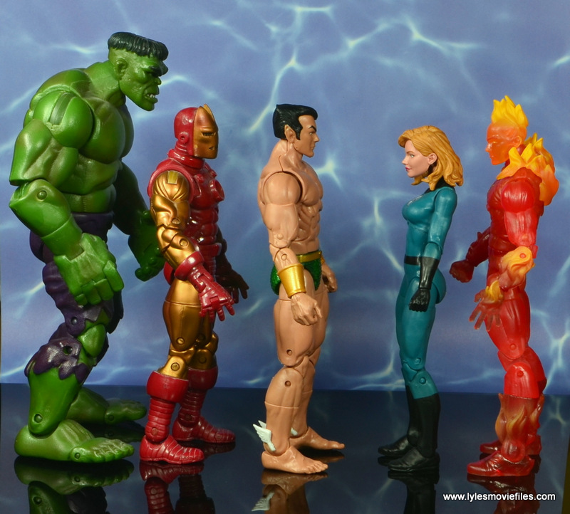 marvel legends sub-mariner figure review - scale with hulk, iron man, invisible woman and human torch