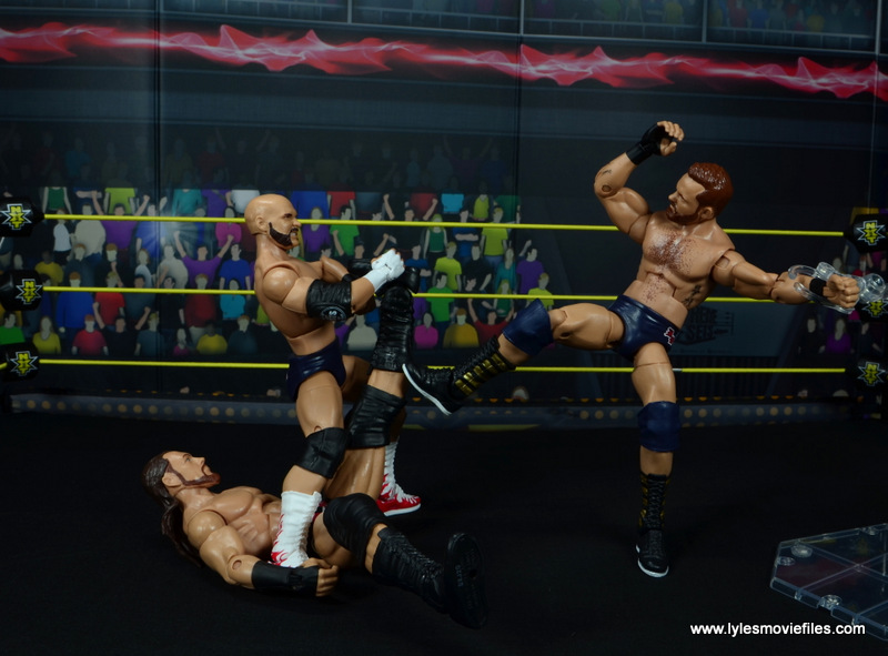 wwe elite the revival scott dawson and dash wilder figure review -attacking big cass' leg