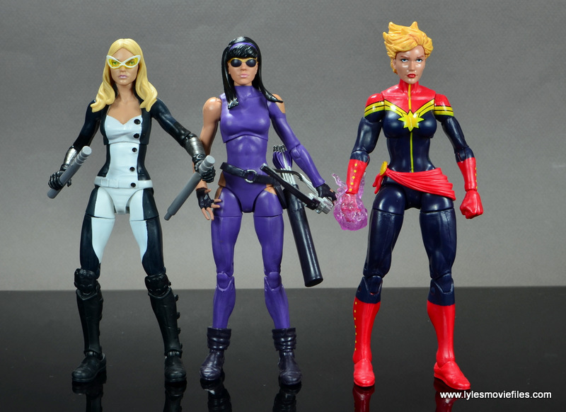 Marvel Legends Avengers Vision, Kate Bishop and Sam Wilson figure review - kate bishop scale with mockingbird and captain marvel