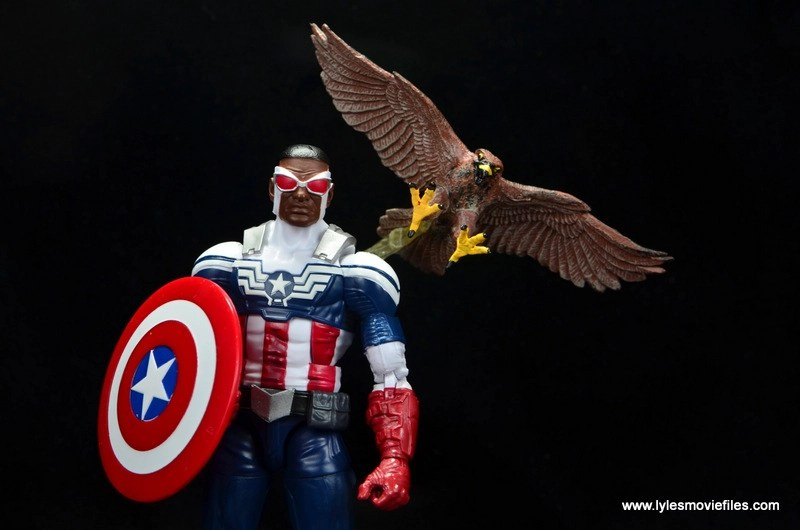 Marvel Legends Avengers Vision, Kate Bishop and Sam Wilson figure review - sam wilson and redwing