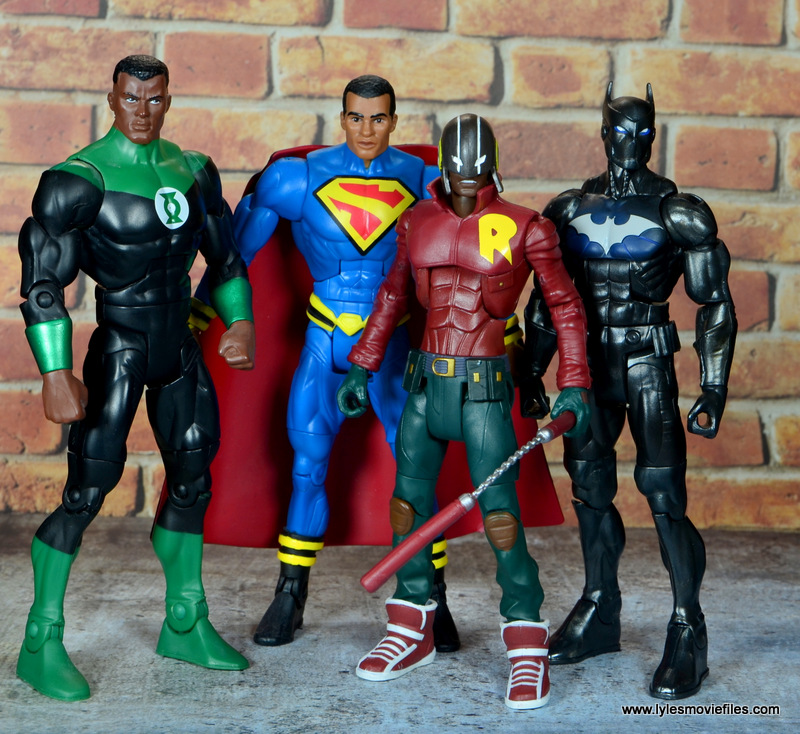 dc multiverse duke thomas figure review - with john stewart, superman earth 23 and batwing