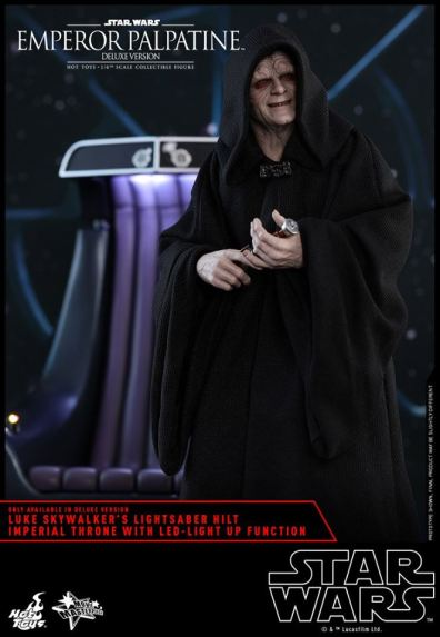 hot toys emperor palpatine figure -holding luke skywalker's lightsaber