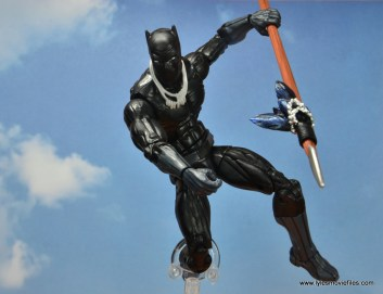marvel legends black panther figure review - leaping with spear