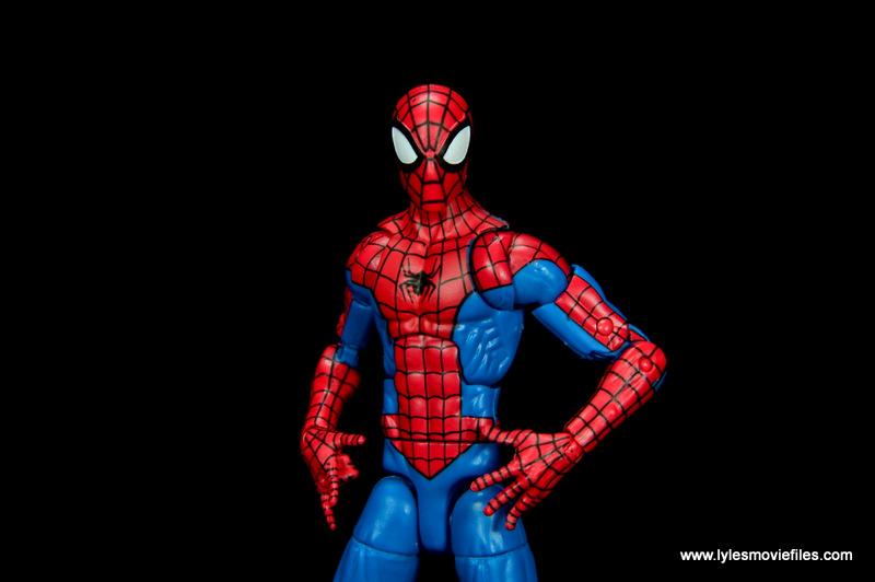 marvel legends retro spider-man figure review -closeup