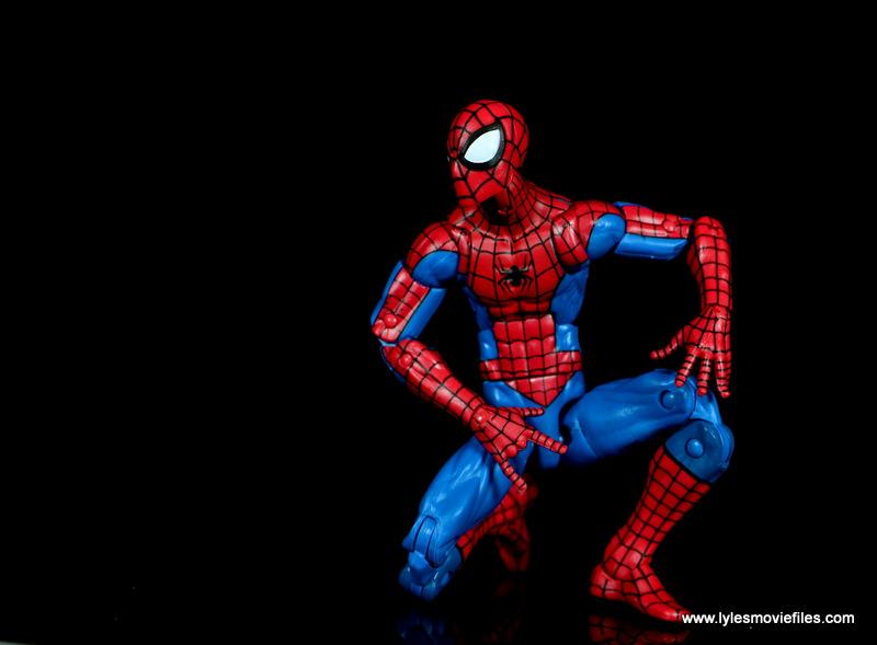 marvel legends retro spider-man figure review -on one knee