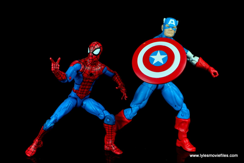 marvel legends retro spider-man figure review -ready for battle with captain america