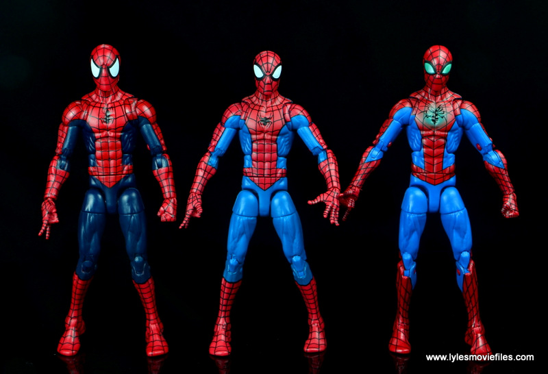 marvel legends retro spider-man figure review -with the raft spider-man and modern spider-man