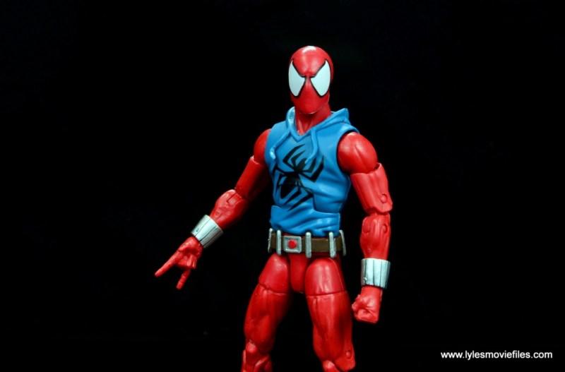 marvel legends scarlet spider-man figure review -wide shot