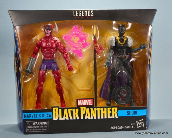 marvel legends shuri and klaw figure review -package front