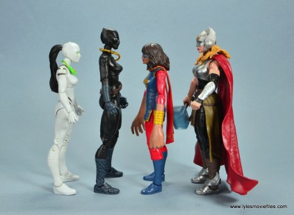 marvel legends shuri and klaw figure review -shuri scale with white tiger, ms marvel and thor