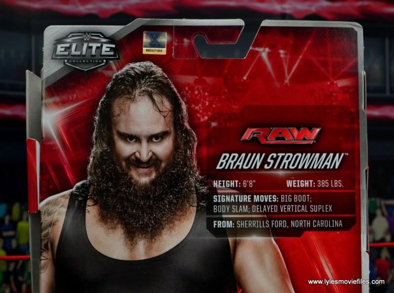 wwe elite 44 braun strowman figure review - package bios