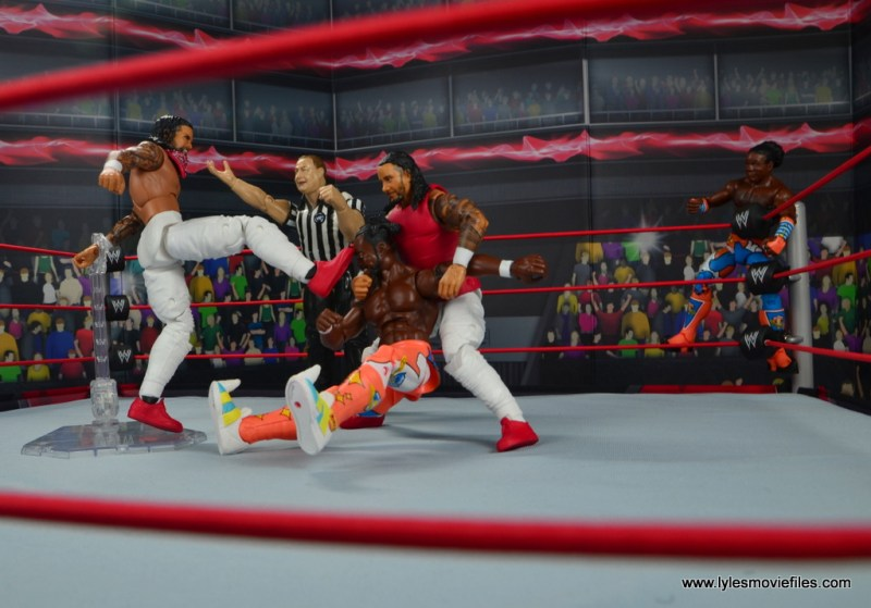 wwe elite 54 the usos jimmy and jey usos figure review - double team on kofi kingston