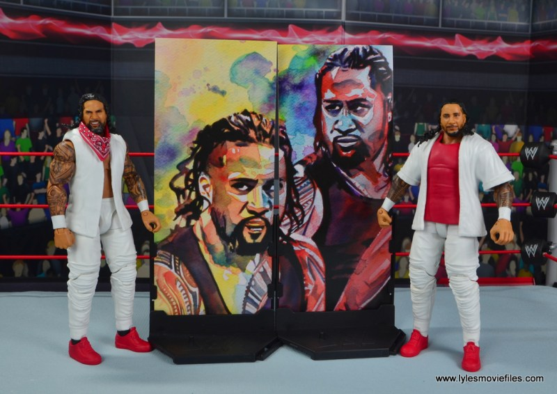 wwe elite 54 the usos jimmy and jey usos figure review - with artwork