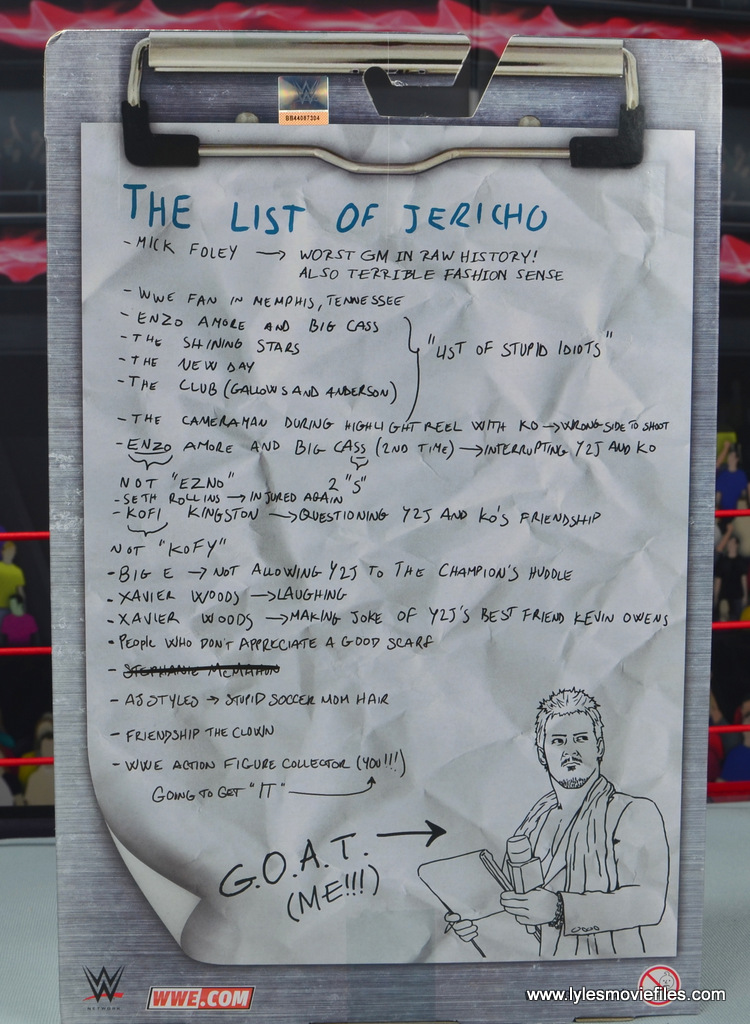 wwe elite chris jericho the list exclusive figue review -package rear
