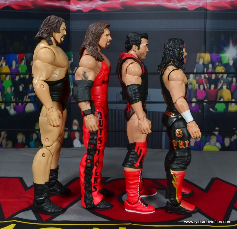 wwe elite flashback series syxx figure review -scale with the giant, kevin nash and scott hall