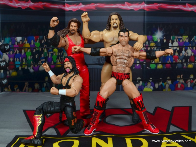 wwe elite flashback series syxx figure review -world war 3 celebration with nash, giant and scott hall