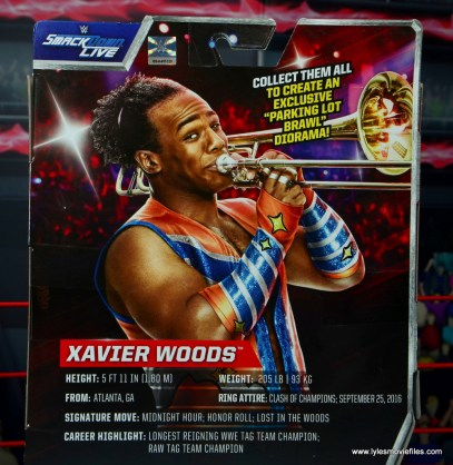 wwe elite xavier woods figure review -package bio