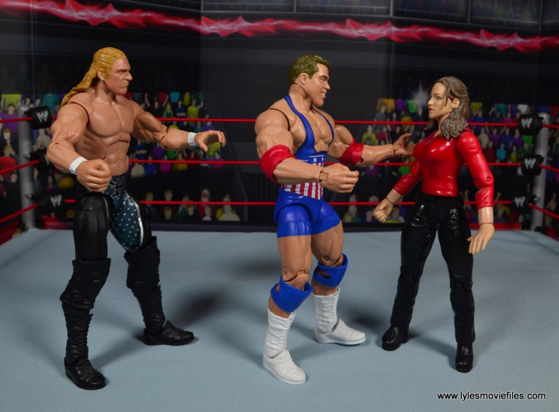wwe entrance greats kurt angle figure review - trying to woo stephanie mcmahon with triple h watching
