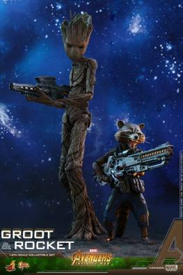 hot toys avengers infinity war groot and rocket figures - back to back